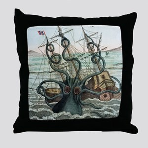 1815 Collosal Polypus octopus and shi Throw Pillow