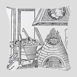 16th Century metallurgy worksh Woven Throw Pillow