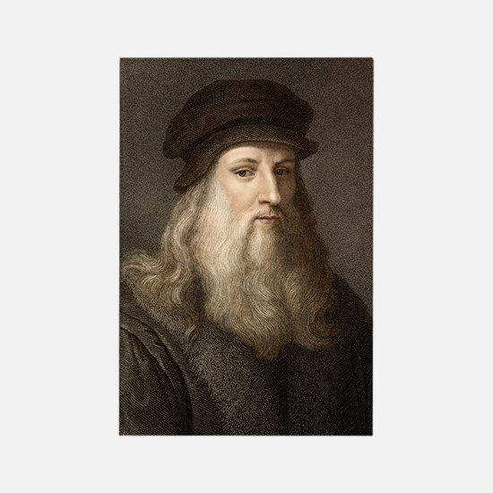 1490 Leonardo Da Vinci colour por Rectangle Magnet