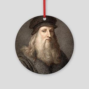 1490 Leonardo Da Vinci colour portr Round Ornament
