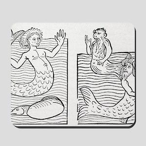 15th Century German woodcut print Mousepad