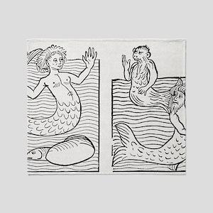 15th Century German woodcut print Throw Blanket