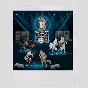 Dogs, Fun, and Rock  Roll Throw Blanket