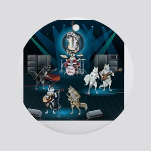 Dogs, Fun, and Rock  Roll Round Ornament