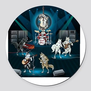 Dogs, Fun, and Rock  Roll Round Car Magnet