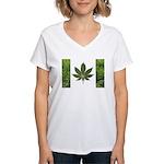 Legalize Marijuana Cannabis Flag Women's V-Neck T-