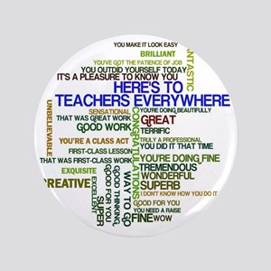 "Great Teachers Word Art 3.5"" Button"