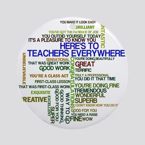 Great Teachers Word Art Round Ornament