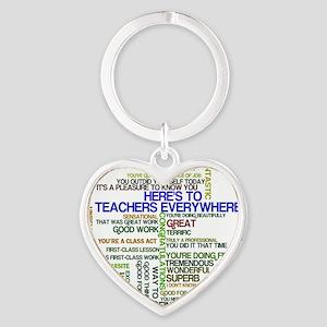 Great Teachers Word Art Heart Keychain