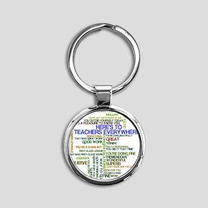 Great Teachers Word Art Round Keychain