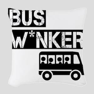 Bus W*nker Woven Throw Pillow