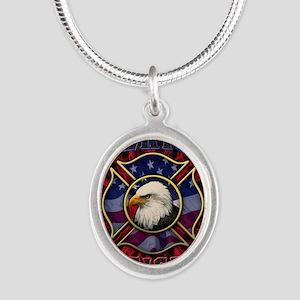 Firefighter Lightning Square Silver Oval Necklace