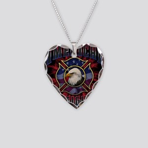Firefighter Lightning Square Necklace Heart Charm