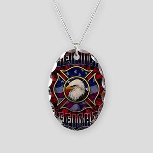 Firefighter Lightning Square Necklace Oval Charm