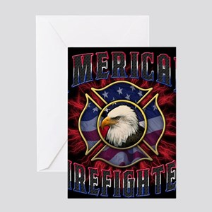 Firefighter Lightning Square Greeting Card
