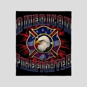 Firefighter Lightning Square Throw Blanket