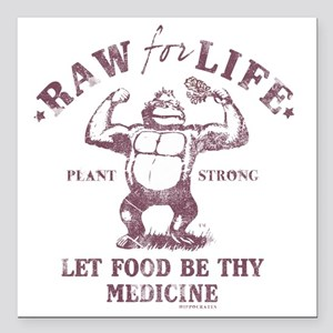 """Raw for Life burgandy Square Car Magnet 3"""" x 3"""""""