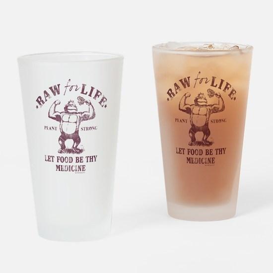 Raw for Life burgandy Drinking Glass