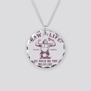 Raw for Life burgandy Necklace Circle Charm