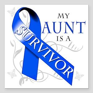 """My Aunt is a Survivor (b Square Car Magnet 3"""" x 3"""""""