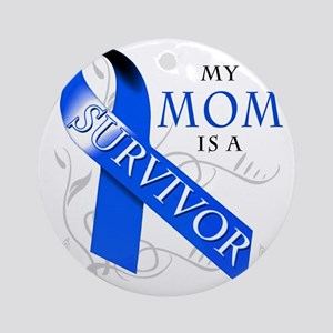 My Mom is a Survivor (blue) Round Ornament