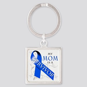 My Mom is a Survivor (blue) Square Keychain