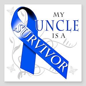 """My Uncle is a Survivor Square Car Magnet 3"""" x 3"""""""