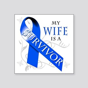 "My Wife is a Survivor Square Sticker 3"" x 3"""