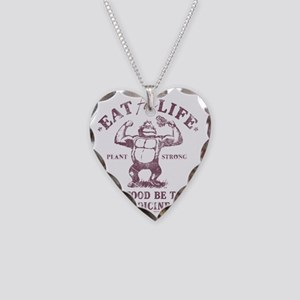 Eat for Life Let food be thy  Necklace Heart Charm
