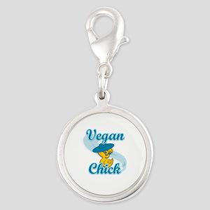 Vegan Chick #3 Silver Round Charm