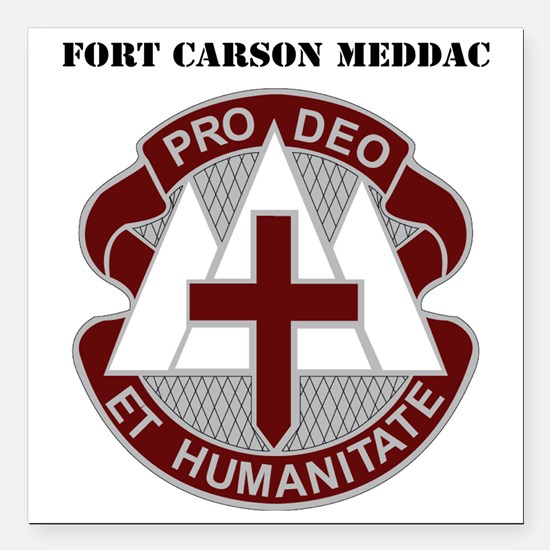 "Fort Carson MEDDAC with  Square Car Magnet 3"" x 3"""
