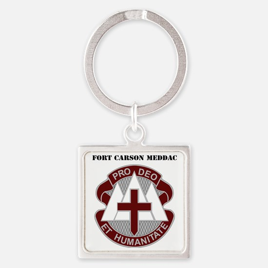Fort Carson MEDDAC with Text Square Keychain