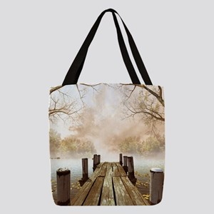 Autumn Wooden Pier Polyester Tote Bag