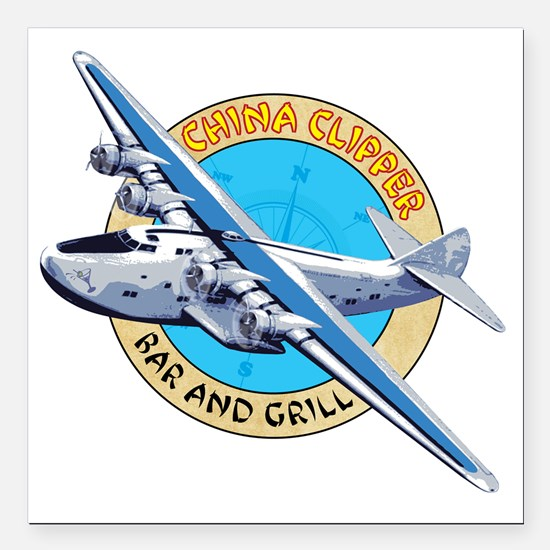 "China Clipper Bar and Gr Square Car Magnet 3"" x 3"""