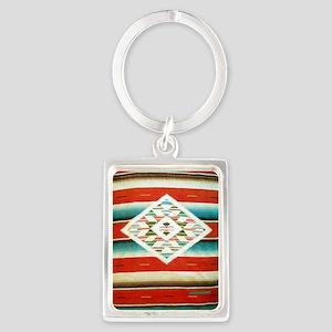 Mexican Serape Flip Flops Portrait Keychain