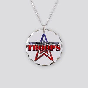 Support Our Troops Necklace Circle Charm