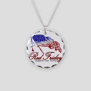 Red support Necklace Circle Charm