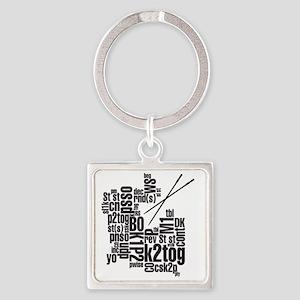 K.A. Black Square Keychain