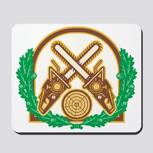Crossed Chainsaw Timber Wood Leaf Mousepad