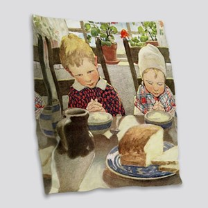A Childs Book-saying grace_SQ Burlap Throw Pillow