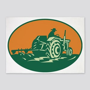 Farmer Worker Driving Farm Tractor 5'x7'Area Rug