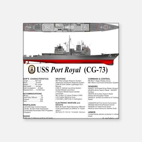 "USS Port Royal CG-73 Square Sticker 3"" x 3"""