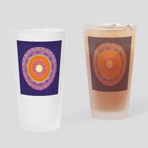 Dayglo Pink and Orange Mandala Drinking Glass