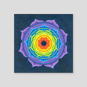 "Rainbow Lotus Mandala Square Sticker 3"" x 3"""