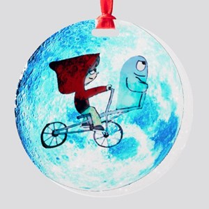 Fly Me to the Moon (white backgroun Round Ornament