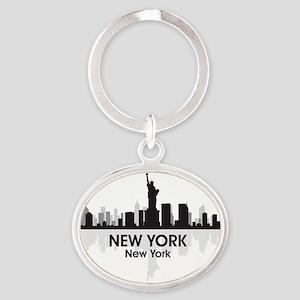 New York Skyline Oval Keychain