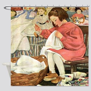 A Childs Book-Sewing_SQ Shower Curtain