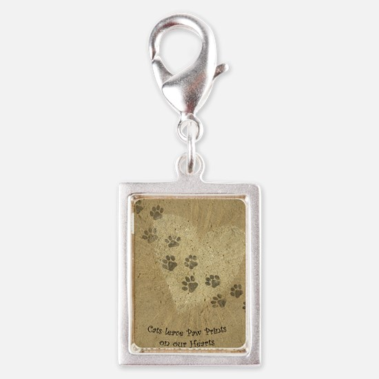 Paw Prints on our Hearts Silver Portrait Charm