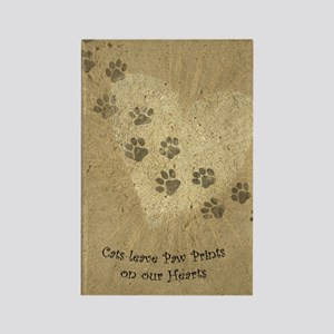 Paw Prints on our Hearts Rectangle Magnet