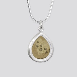 Paw Prints on our Hearts Silver Teardrop Necklace
